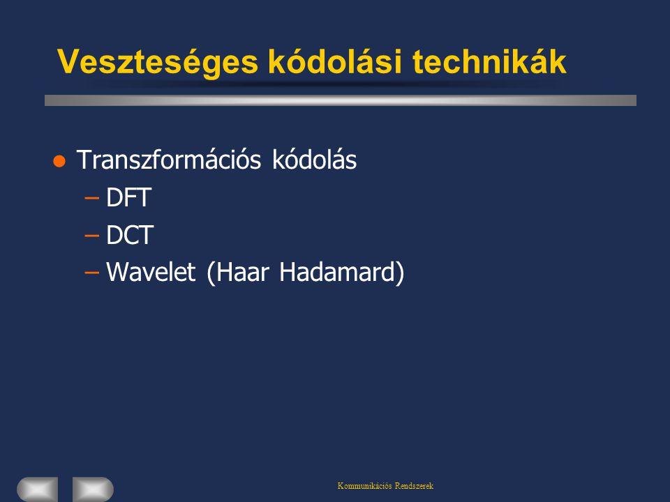 Kommunikációs Rendszerek Veszteséges kódolási technikák Transzformációs kódolás –DFT –DCT –Wavelet (Haar Hadamard)
