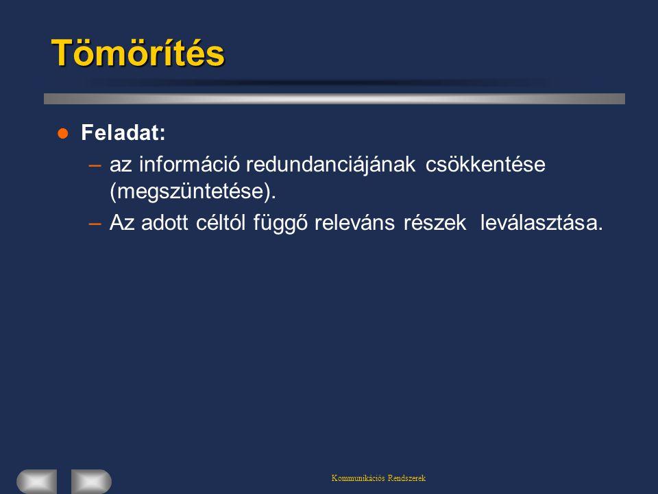 Kommunikációs RendszerekTömörítés Feladat: –az információ redundanciájának csökkentése (megszüntetése). –Az adott céltól függő releváns részek leválas