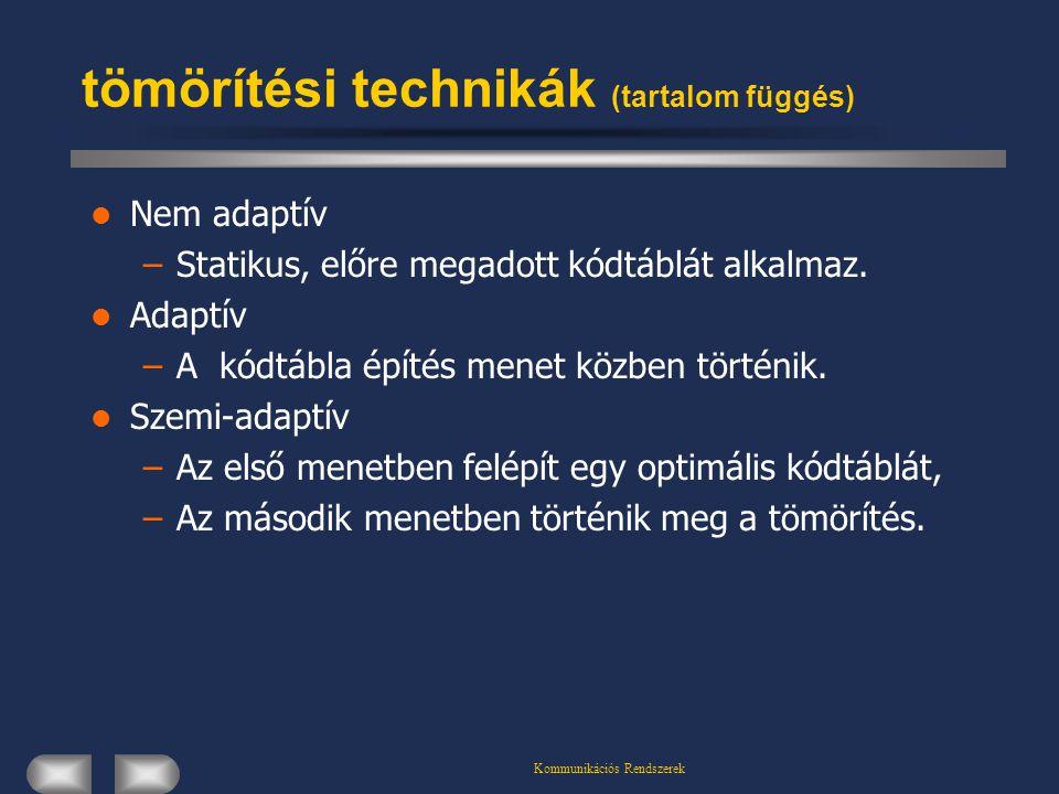 Kommunikációs Rendszerek tömörítési technikák (tartalom függés) Nem adaptív –Statikus, előre megadott kódtáblát alkalmaz. Adaptív –A kódtábla építés m
