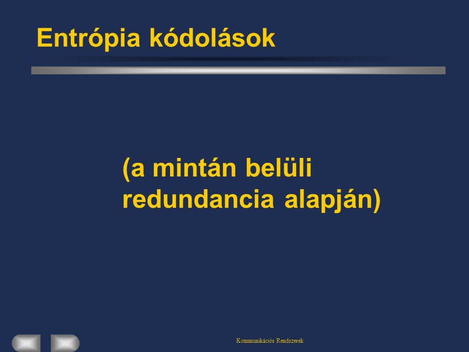 Kommunikációs Rendszerek Entrópia kódolások (a mintán belüli redundancia alapján)