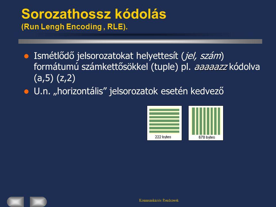 Kommunikációs Rendszerek Sorozathossz kódolás (Run Lengh Encoding, RLE). aaaaazz Ismétlődő jelsorozatokat helyettesít (jel, szám) formátumú számkettős