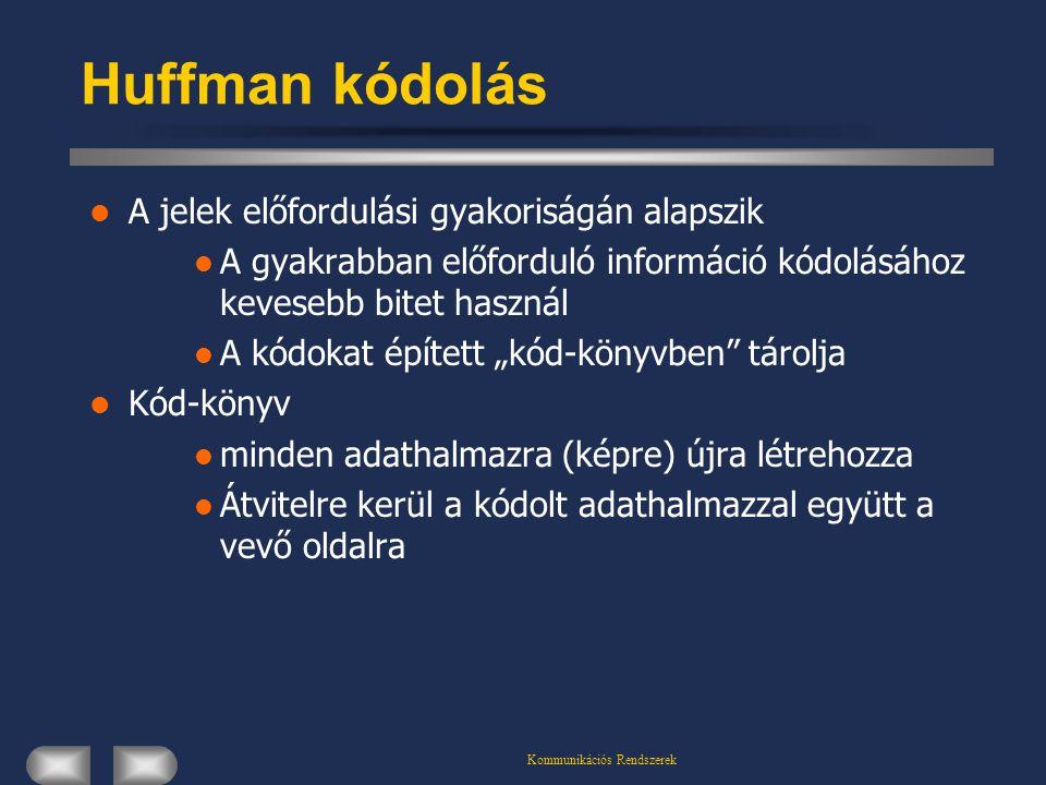 Kommunikációs Rendszerek Huffman kódolás A jelek előfordulási gyakoriságán alapszik A gyakrabban előforduló információ kódolásához kevesebb bitet hasz