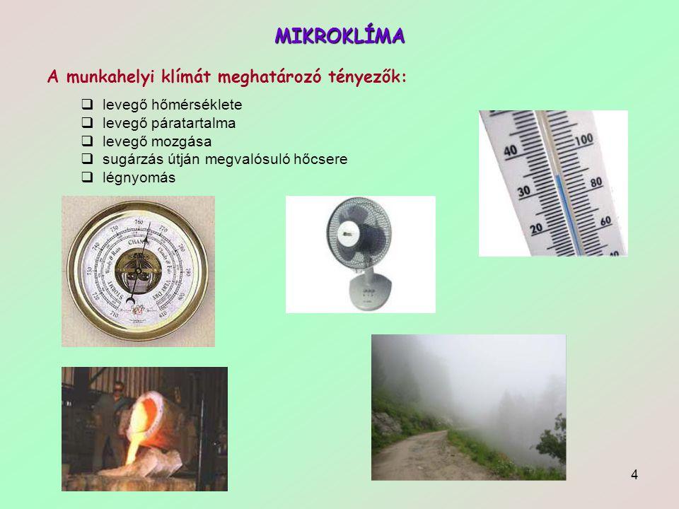 4 MIKROKLÍMA A munkahelyi klímát meghatározó tényezők:  levegő hőmérséklete  levegő páratartalma  levegő mozgása  sugárzás útján megvalósuló hőcse