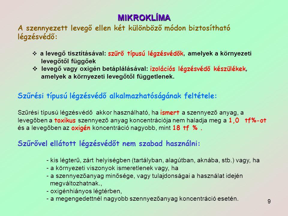 9 MIKROKLÍMA Szűrési típusú légzésvédő alkalmazhatóságának feltétele: Szűrési típusú légzésvédő akkor használható, ha ismert a szennyező anyag, a leve