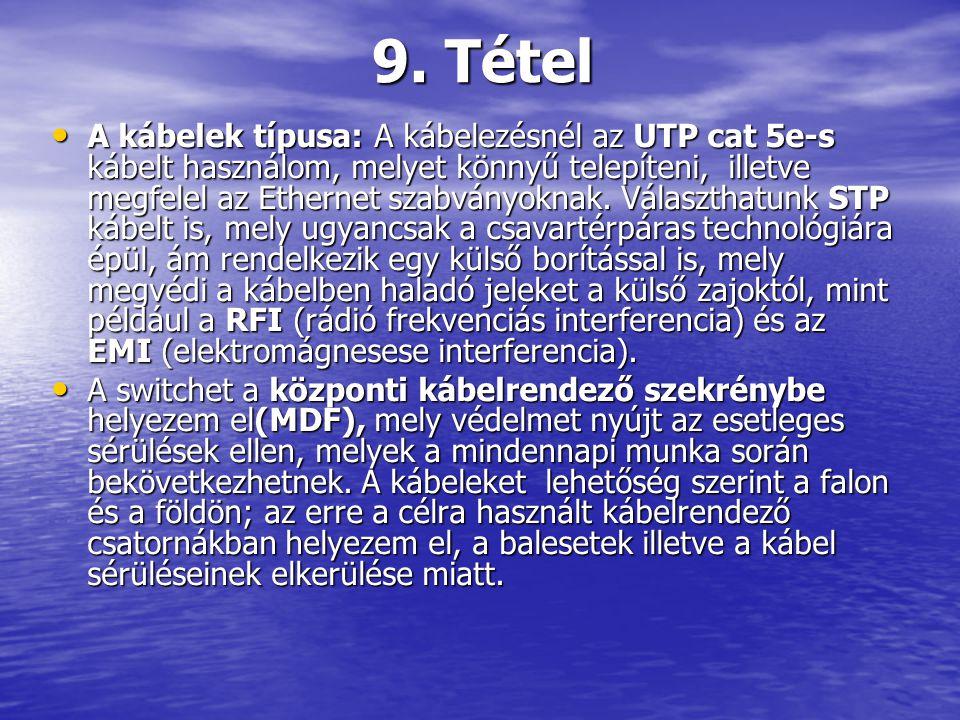 A kábelek típusa: A kábelezésnél az UTP cat 5e-s kábelt használom, melyet könnyű telepíteni, illetve megfelel az Ethernet szabványoknak. Választhatunk
