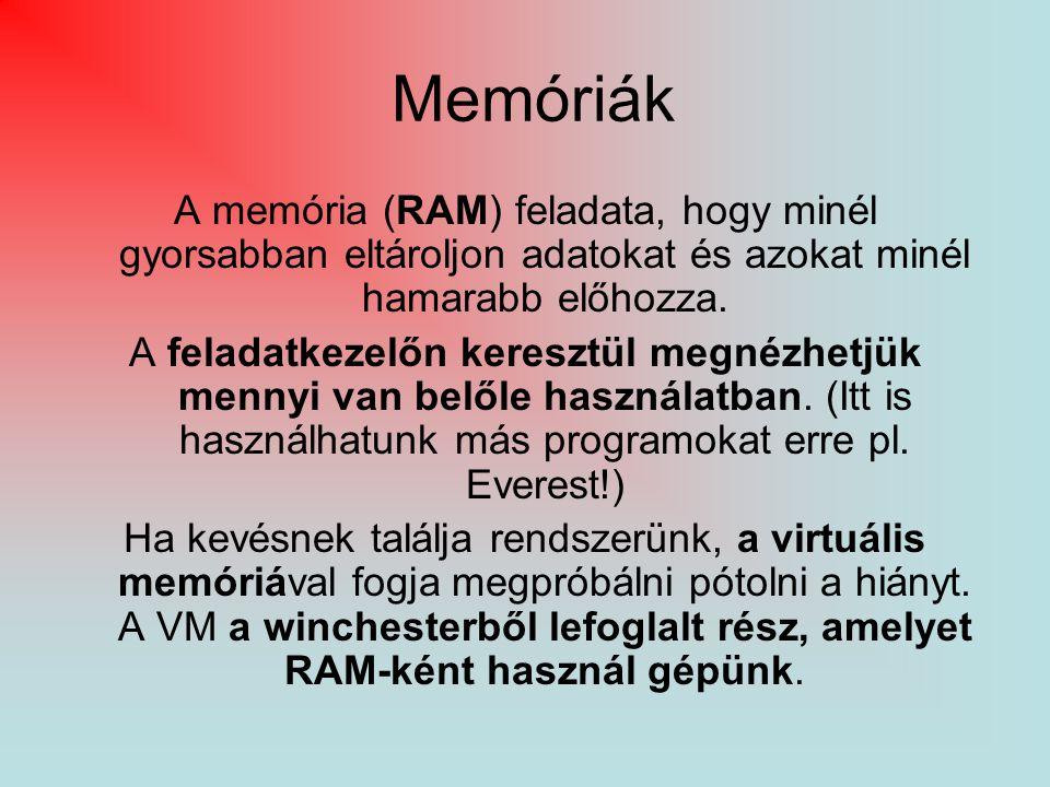 Memóriák A memória (RAM) feladata, hogy minél gyorsabban eltároljon adatokat és azokat minél hamarabb előhozza. A feladatkezelőn keresztül megnézhetjü