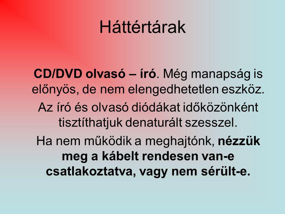 Háttértárak CD/DVD olvasó – író. Még manapság is előnyös, de nem elengedhetetlen eszköz. Az író és olvasó diódákat időközönként tisztíthatjuk denaturá