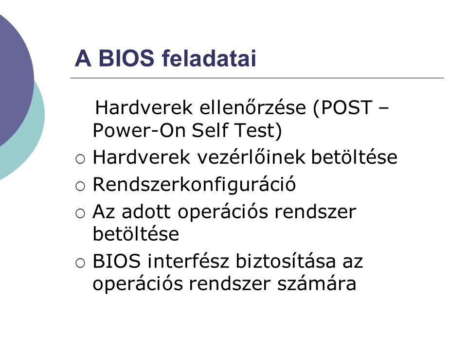 A BIOS feladatai Hardverek ellenőrzése (POST – Power-On Self Test)  Hardverek vezérlőinek betöltése  Rendszerkonfiguráció  Az adott operációs rends