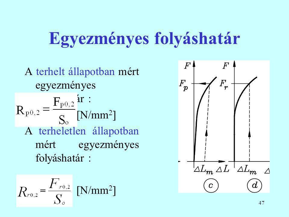 47 Egyezményes folyáshatár A terhelt állapotban mért egyezményes folyáshatár :  N/mm 2  A terheletlen állapotban mért egyezményes folyáshatár :  N/