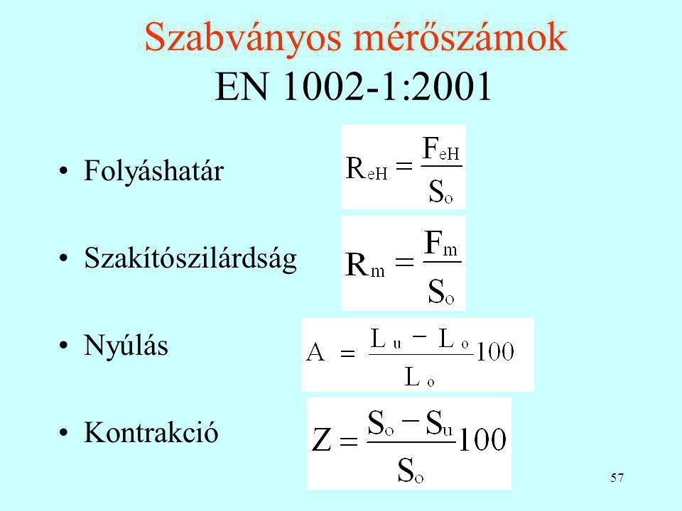 57 Szabványos mérőszámok EN 1002-1:2001 Folyáshatár Szakítószilárdság Nyúlás Kontrakció
