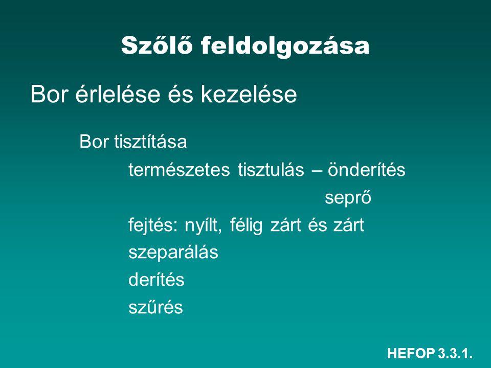 HEFOP 3.3.1. Szőlő feldolgozása Bor érlelése és kezelése Bor tisztítása természetes tisztulás – önderítés seprő fejtés: nyílt, félig zárt és zárt szep