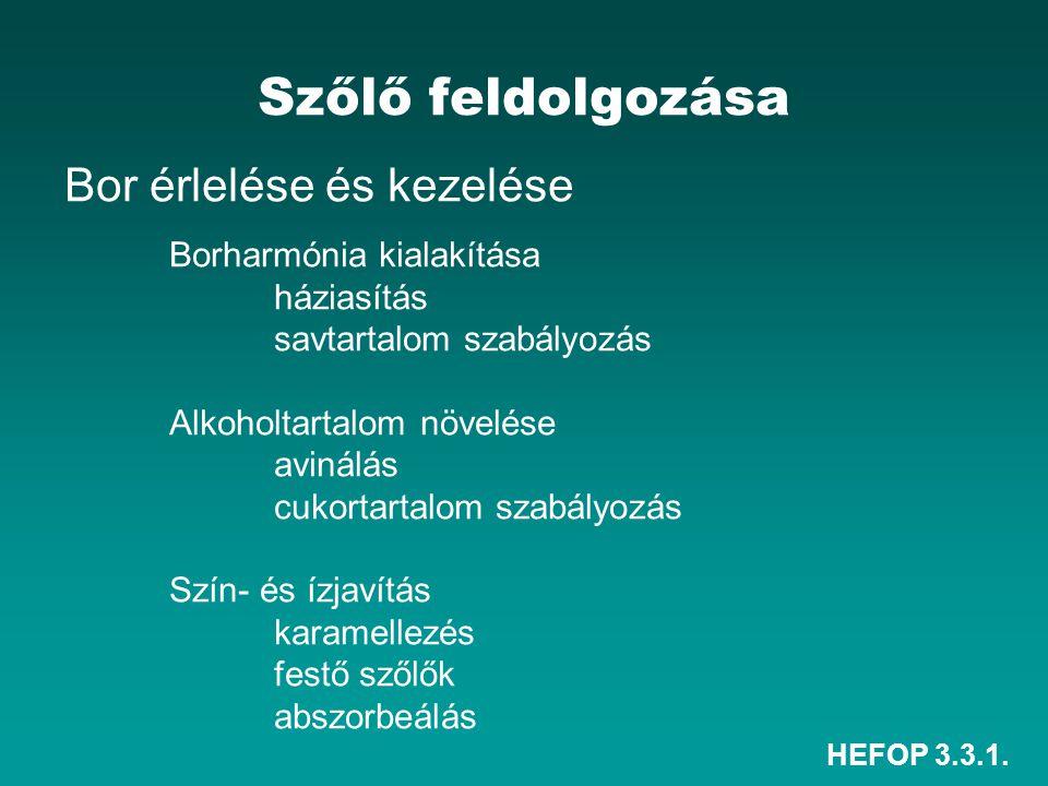HEFOP 3.3.1. Szőlő feldolgozása Bor érlelése és kezelése Borharmónia kialakítása háziasítás savtartalom szabályozás Alkoholtartalom növelése avinálás