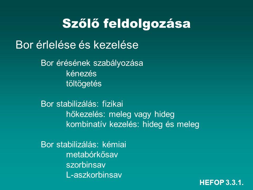HEFOP 3.3.1. Szőlő feldolgozása Bor érlelése és kezelése Bor érésének szabályozása kénezés töltögetés Bor stabilizálás: fizikai hőkezelés: meleg vagy