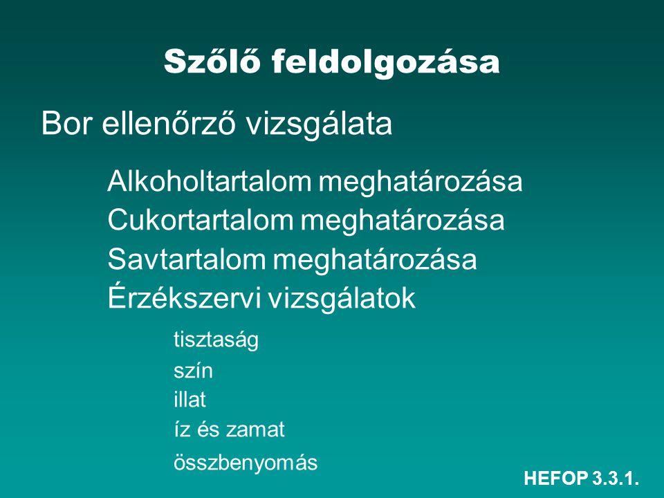 HEFOP 3.3.1. Szőlő feldolgozása Bor ellenőrző vizsgálata Alkoholtartalom meghatározása Cukortartalom meghatározása Savtartalom meghatározása Érzékszer