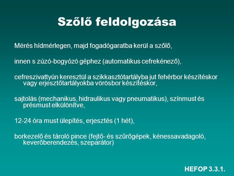 HEFOP 3.3.1. Szőlő feldolgozása Mérés hídmérlegen, majd fogadógaratba kerül a szőlő, innen s zúzó-bogyózó géphez (automatikus cefrekénező), cefresziva