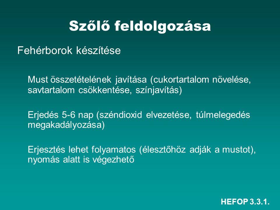 HEFOP 3.3.1. Szőlő feldolgozása Fehérborok készítése Must összetételének javítása (cukortartalom növelése, savtartalom csökkentése, színjavítás) Erjed