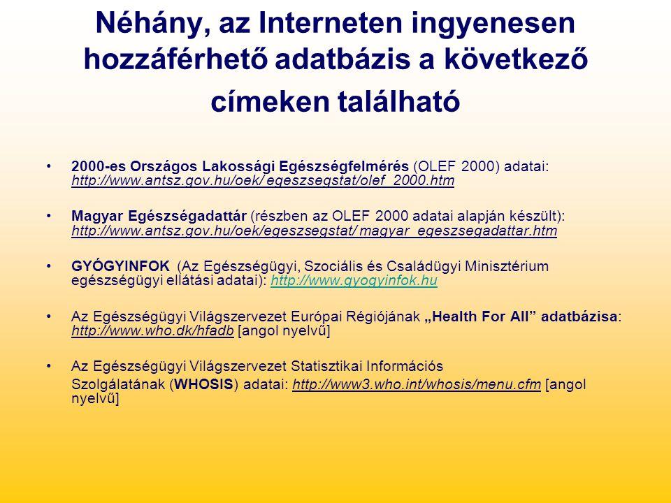 Néhány, az Interneten ingyenesen hozzáférhető adatbázis a következő címeken található 2000-es Országos Lakossági Egészségfelmérés (OLEF 2000) adatai:
