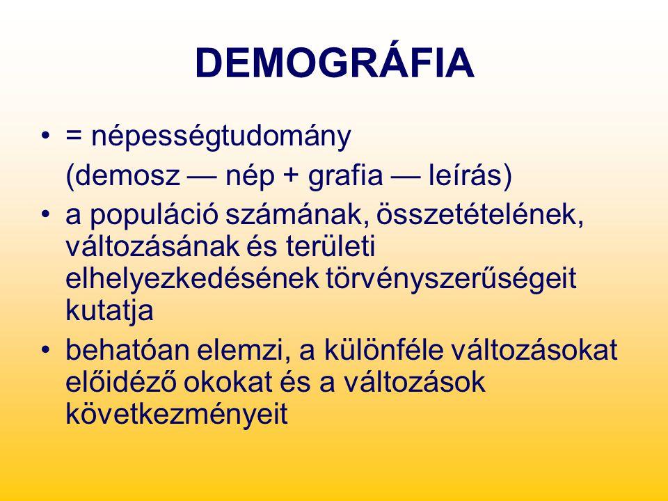 DEMOGRÁFIA = népességtudomány (demosz — nép + grafia — leírás) a populáció számának, összetételének, változásának és területi elhelyezkedésének törvén