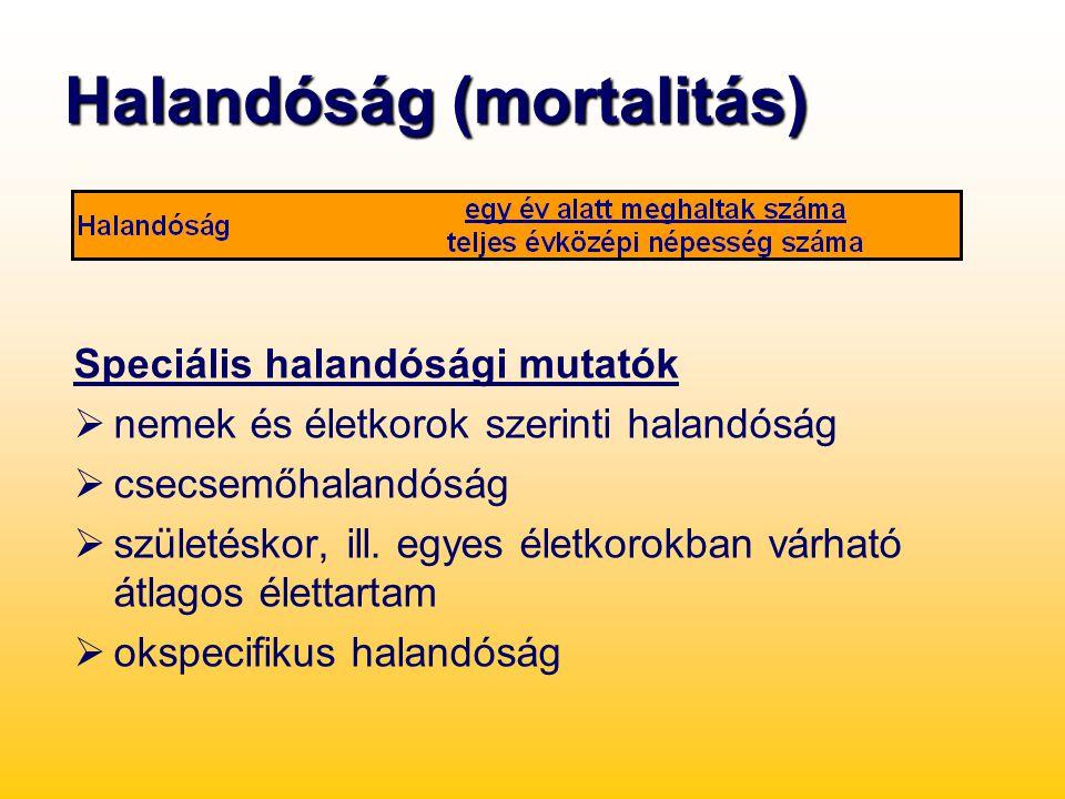Halandóság (mortalitás) Speciális halandósági mutatók  nemek és életkorok szerinti halandóság  csecsemőhalandóság  születéskor, ill. egyes életkoro