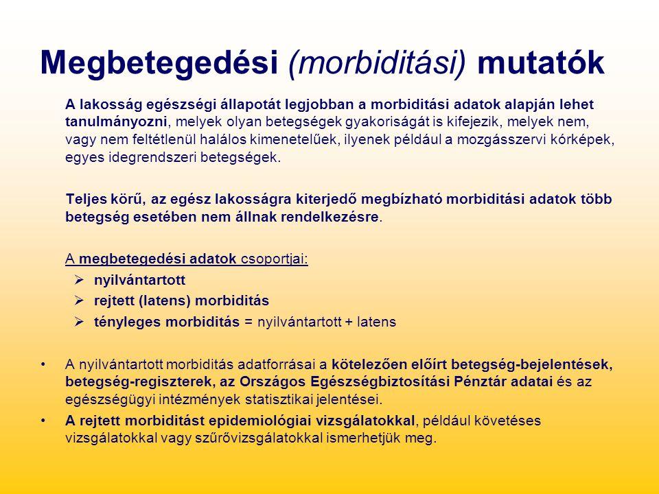 Megbetegedési (morbiditási) mutatók A lakosság egészségi állapotát legjobban a morbiditási adatok alapján lehet tanulmányozni, melyek olyan betegségek