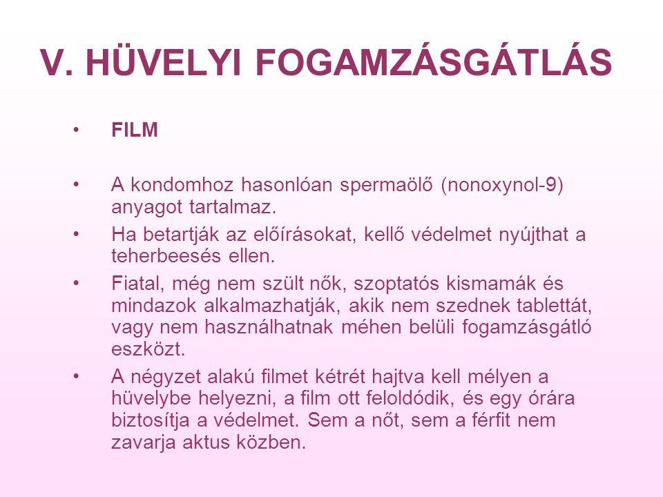 V. HÜVELYI FOGAMZÁSGÁTLÁS FILM A kondomhoz hasonlóan spermaölő (nonoxynol-9) anyagot tartalmaz.