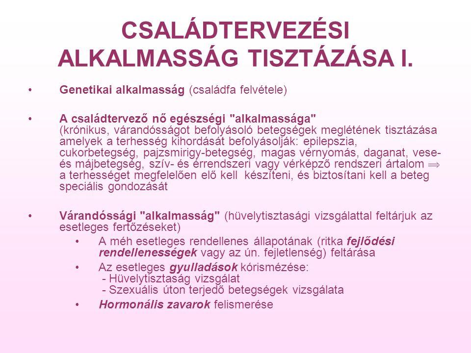 CSALÁDTERVEZÉSI ALKALMASSÁG TISZTÁZÁSA I.