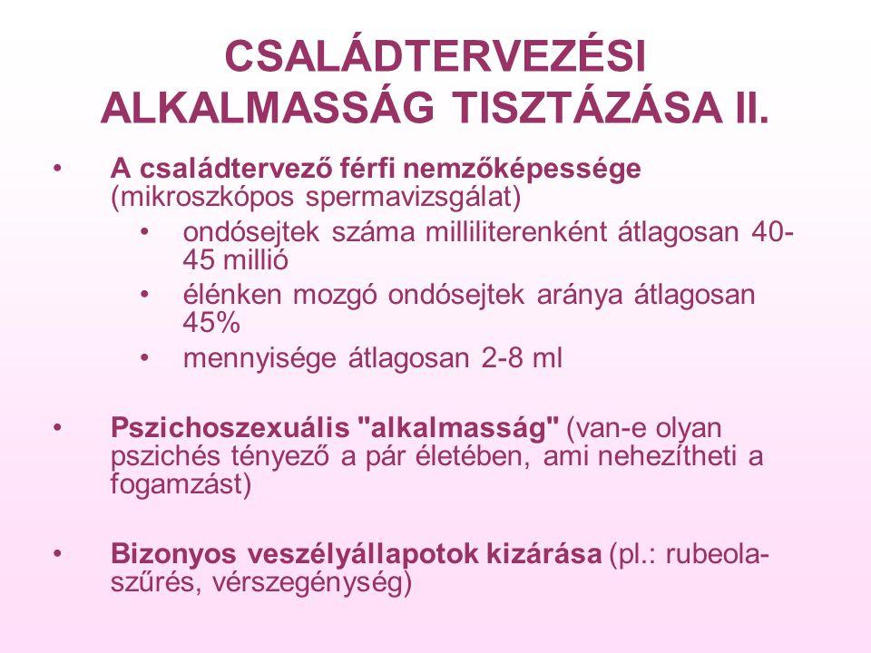 CSALÁDTERVEZÉSI ALKALMASSÁG TISZTÁZÁSA II.