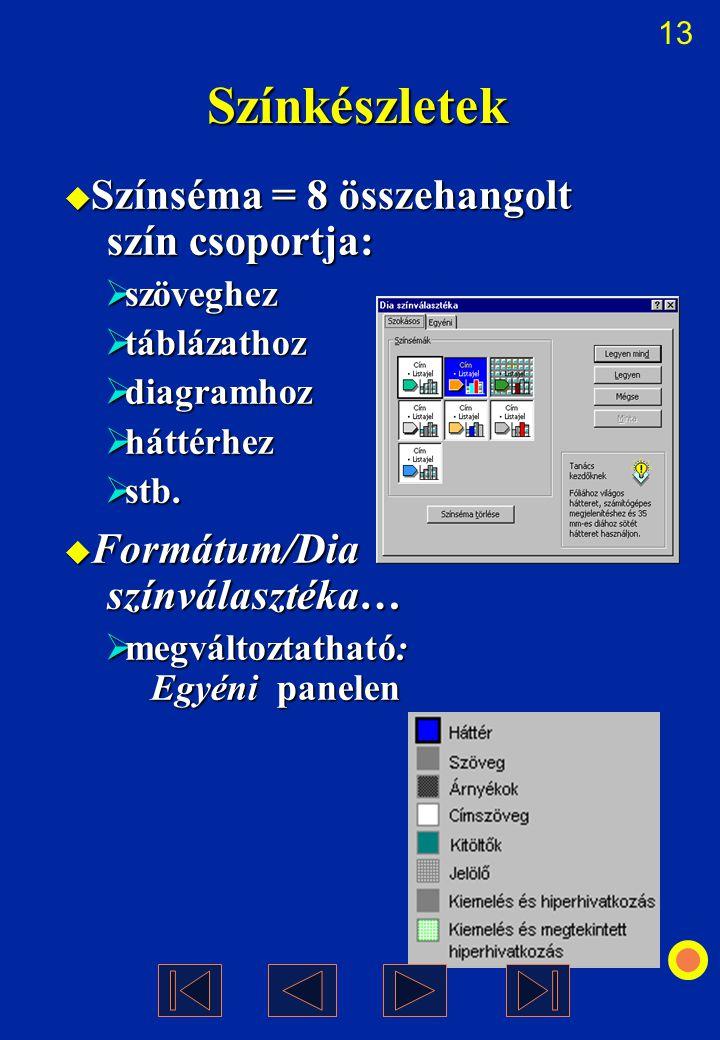 13 Színkészletek  Színséma = 8 összehangolt szín csoportja:  szöveghez  táblázathoz  diagramhoz  háttérhez  stb.  Formátum/Dia színválasztéka…
