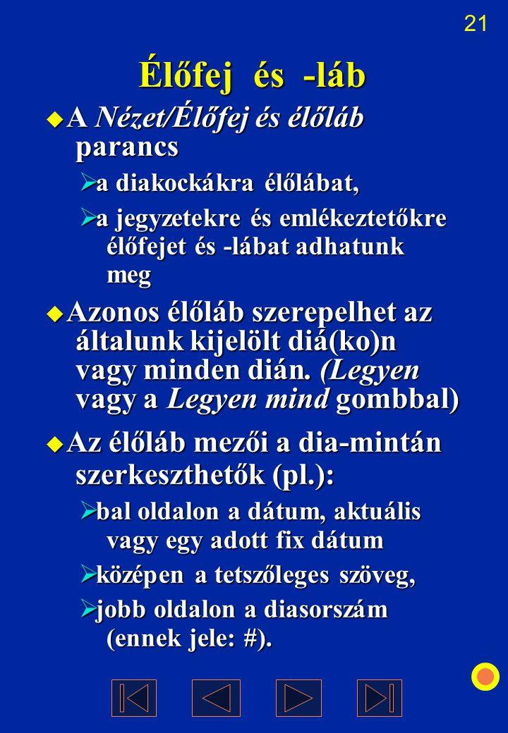 21 Élőfej és -láb  A Nézet/Élőfej és élőláb parancs  a diakockákra élőlábat,  a jegyzetekre és emlékeztetőkre élőfejet és -lábat adhatunk meg  Azo