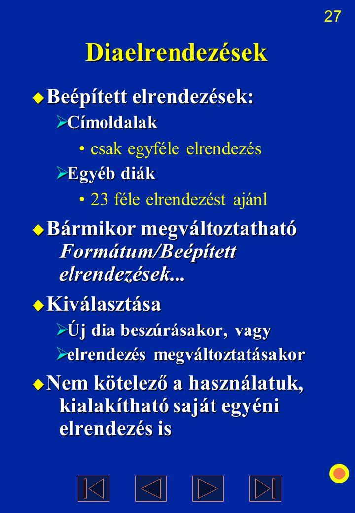 27 Diaelrendezések  Beépített elrendezések:  Címoldalak csak egyféle elrendezés  Egyéb diák 23 féle elrendezést ajánl  Bármikor megváltoztatható F