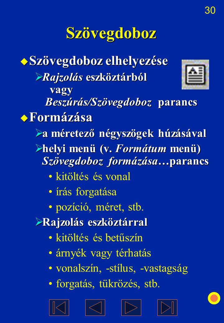 30 Szövegdoboz  Szövegdoboz elhelyezése  Rajzolás eszköztárból vagy Beszúrás/Szövegdoboz parancs  Formázása  a méretező négyszögek húzásával  hel