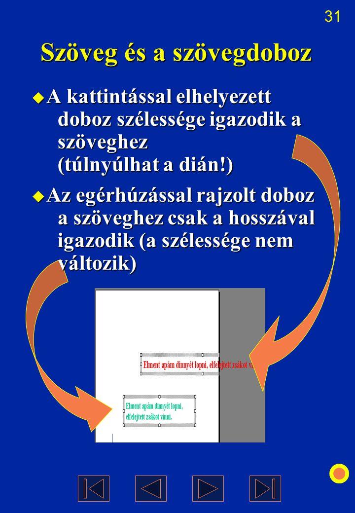 31 Szöveg és a szövegdoboz  A kattintással elhelyezett doboz szélessége igazodik a szöveghez (túlnyúlhat a dián!)  Az egérhúzással rajzolt doboz a s
