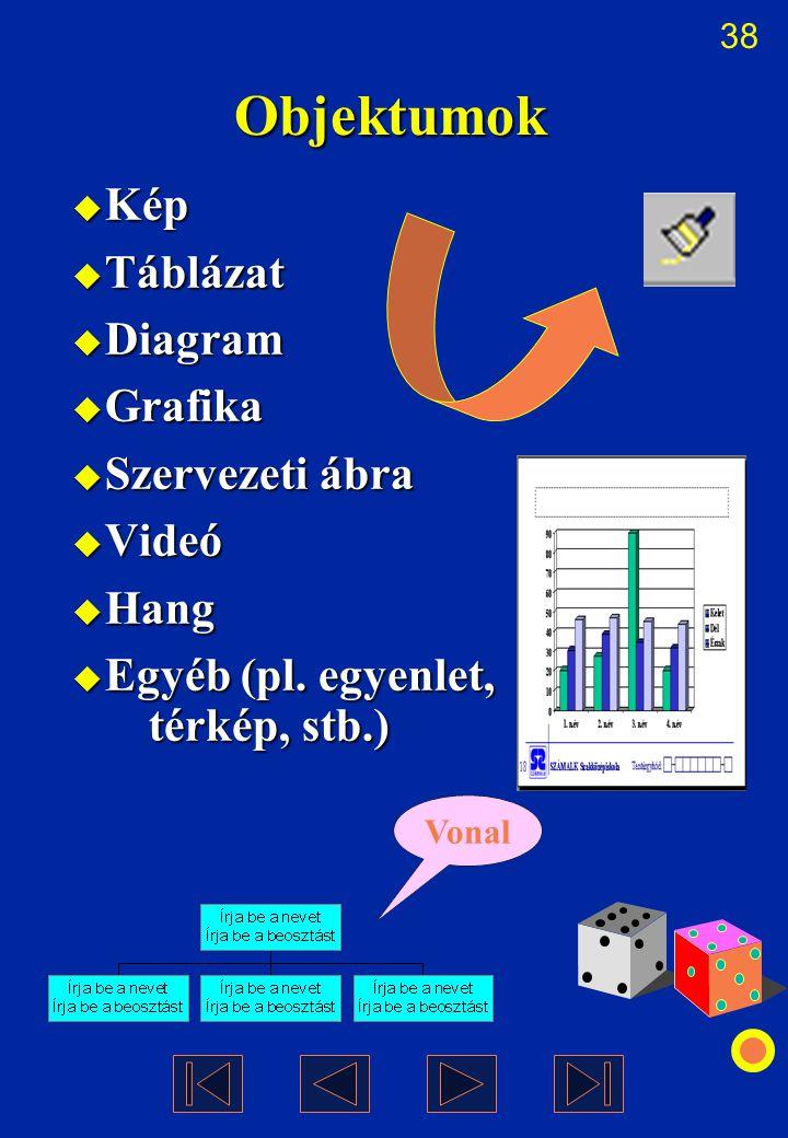 38 Objektumok  Kép  Táblázat  Diagram  Grafika  Szervezeti ábra  Videó  Hang  Egyéb (pl. egyenlet, térkép, stb.) Vonal