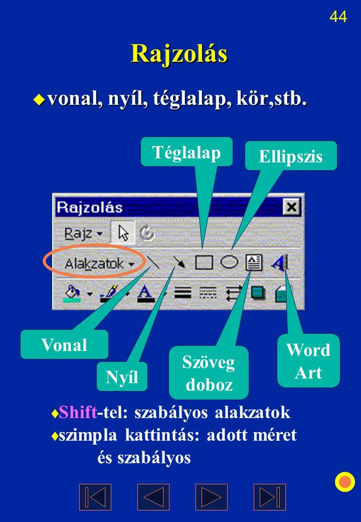 44  vonal, nyíl, téglalap, kör,stb. Rajzolás  Shift-tel: szabályos alakzatok  szimpla kattintás: adott méret és szabályos Vonal Nyíl Szöveg doboz T