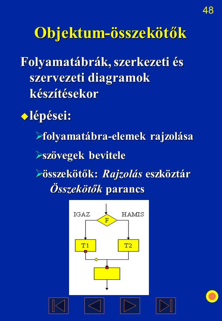 48 Objektum-összekötők Folyamatábrák, szerkezeti és szervezeti diagramok készítésekor  lépései:  folyamatábra-elemek rajzolása  szövegek bevitele 