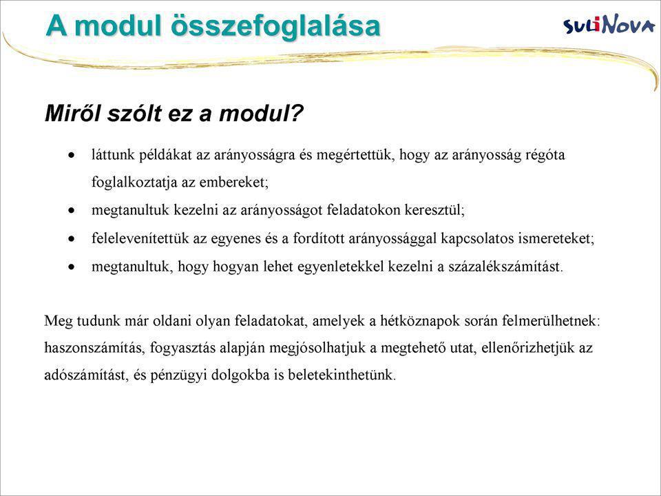 A modul összefoglalása