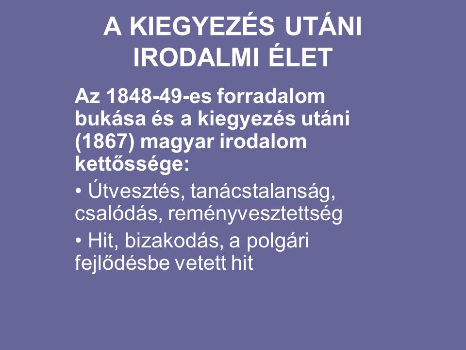 A kiegyezés utáni irodalmi élet A kiegyezés leoldotta a feudális abszolutizmus bilincseit Nem valósult meg a teljes nemzeti függetlenség Megindult a külföldi tőke beáramlása, a polgárosodás, a kapitalista fejlődés Budapest világvárossá alakult (fejlődő ipar, kibontakozó kereskedelem)
