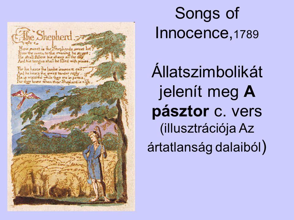Songs of Innocence, 1789 Állatszimbolikát jelenít meg A pásztor c. vers (illusztrációja Az ártatlanság dalaiból )