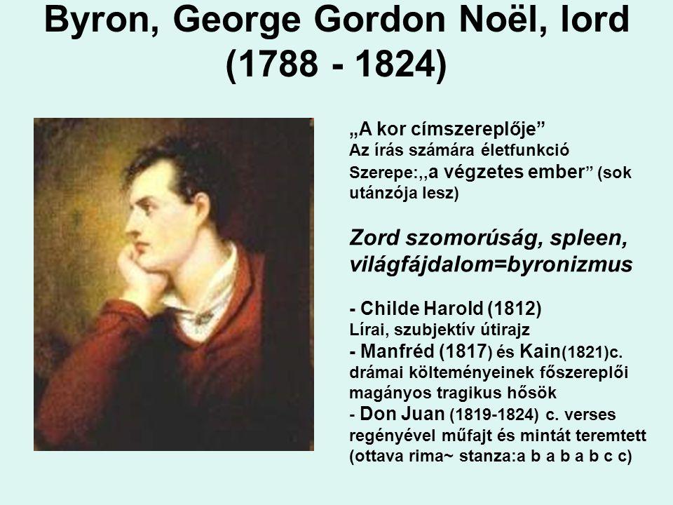 """Byron, George Gordon Noël, lord (1788 - 1824) """"A kor címszereplője Az írás számára életfunkció Szerepe:,, a végzetes ember (sok utánzója lesz) Zord szomorúság, spleen, világfájdalom=byronizmus - Childe Harold (1812) Lírai, szubjektív útirajz - Manfréd (1817 ) és Kain (1821)c."""