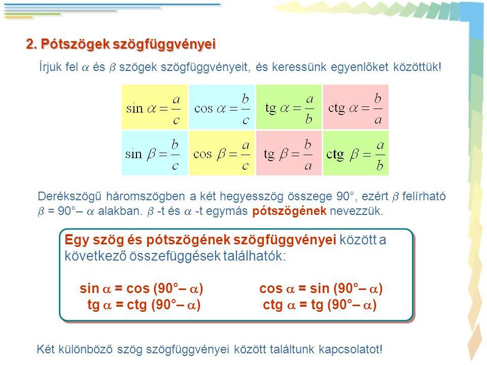2. Pótszögek szögfüggvényei Írjuk fel  és  szögek szögfüggvényeit, és keressünk egyenlőket közöttük! Egy szög és pótszögének szögfüggvényei között a