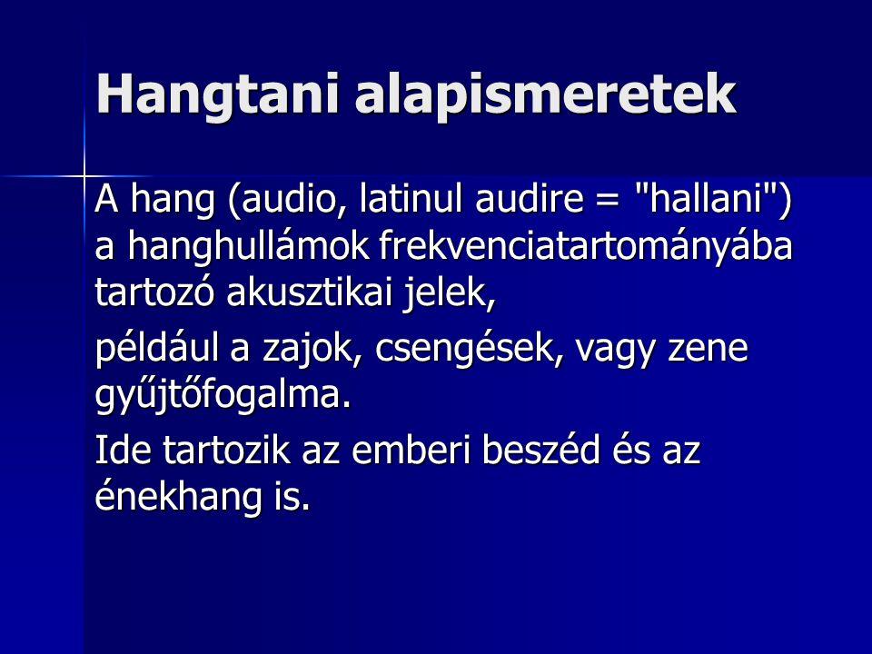 Hangtani alapismeretek A hang (audio, latinul audire =