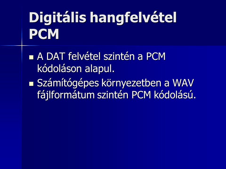 Digitális hangfelvétel PCM A DAT felvétel szintén a PCM kódoláson alapul. A DAT felvétel szintén a PCM kódoláson alapul. Számítógépes környezetben a W