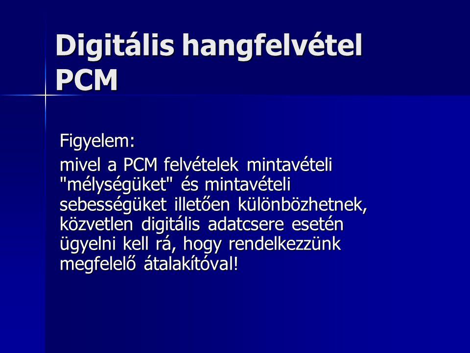 Digitális hangfelvétel PCM Figyelem: mivel a PCM felvételek mintavételi