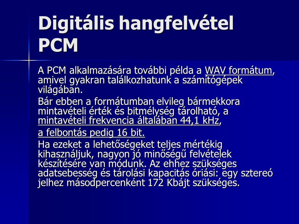 Digitális hangfelvétel PCM A PCM alkalmazására további példa a WAV formátum, amivel gyakran találkozhatunk a számítógépek világában. Bár ebben a formá
