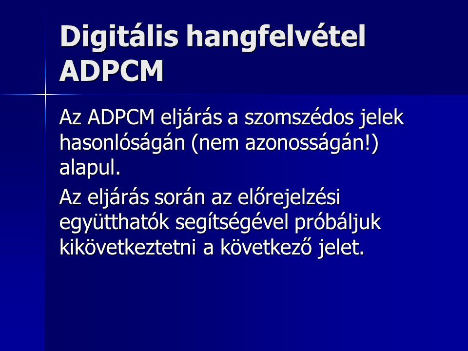 Digitális hangfelvétel ADPCM Az ADPCM eljárás a szomszédos jelek hasonlóságán (nem azonosságán!) alapul. Az eljárás során az előrejelzési együtthatók