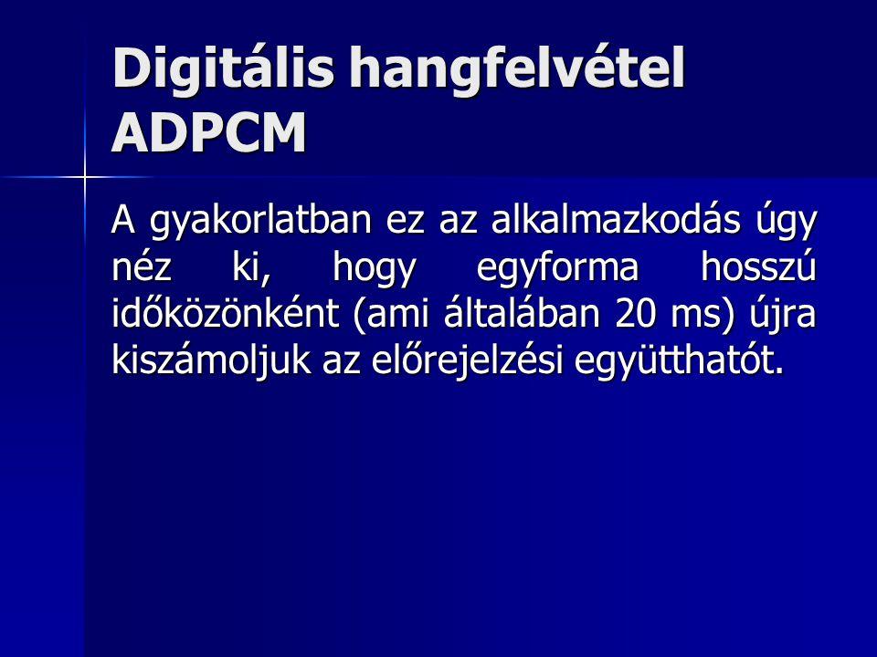 Digitális hangfelvétel ADPCM A gyakorlatban ez az alkalmazkodás úgy néz ki, hogy egyforma hosszú időközönként (ami általában 20 ms) újra kiszámoljuk a