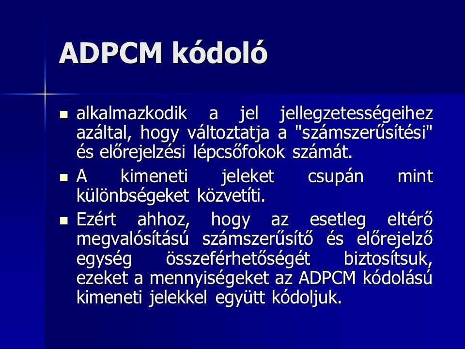 ADPCM kódoló alkalmazkodik a jel jellegzetességeihez azáltal, hogy változtatja a