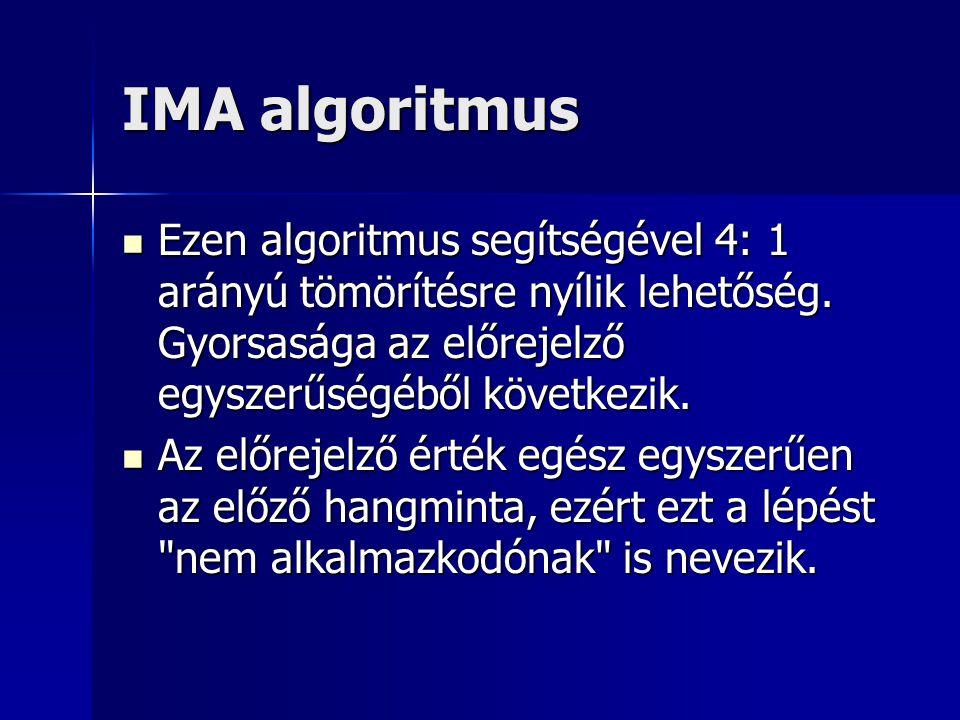 IMA algoritmus Ezen algoritmus segítségével 4: 1 arányú tömörítésre nyílik lehetőség. Gyorsasága az előrejelző egyszerűségéből következik. Ezen algori
