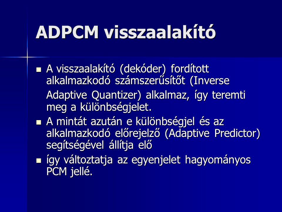 ADPCM visszaalakító A visszaalakító (dekóder) fordított alkalmazkodó számszerűsítőt (Inverse A visszaalakító (dekóder) fordított alkalmazkodó számszer