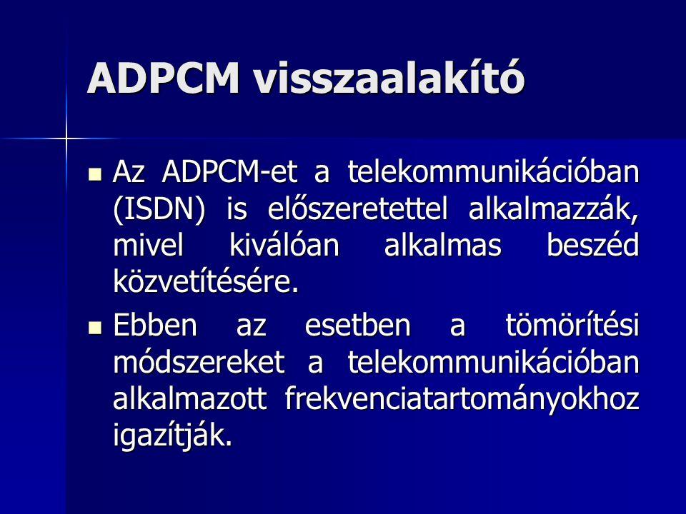 ADPCM visszaalakító Az ADPCM-et a telekommunikációban (ISDN) is előszeretettel alkalmazzák, mivel kiválóan alkalmas beszéd közvetítésére. Az ADPCM-et